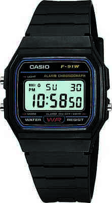 Casio Classic Men's Quartz Digital Sport Black Resin Band 33mm Watch F91W-1