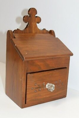 Vintage Handmade Small Wooden Box with Drawer Flip Up Lid Free Shipping
