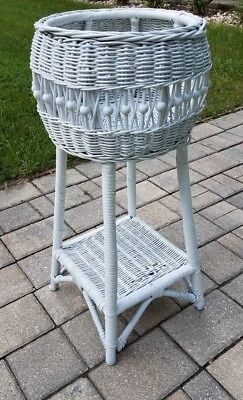 Vintage victorian wicker plant stand planter with shelf boho 28 3/4