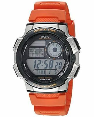 Casio Men's Quartz Gray World Time Digital Orange Resin 48mm Watch AE1000W-4BV