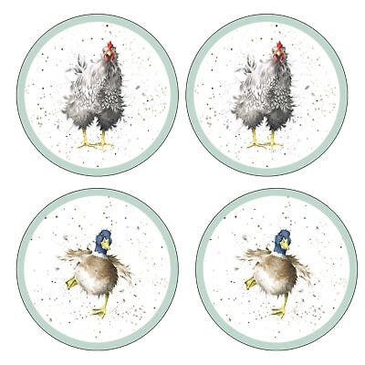 Pimpernel for Royal Worcester Wrendale Farmyard Feathers Round Coasters Set of 4