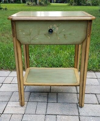 Vintage French country hand painted nightstand end table cottage