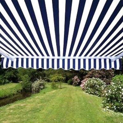 ALEKO Retractable Patio Awning 13 X 10 Ft Deck Sunshade Blue and White Stripe