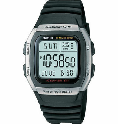 Casio Men's Quartz Illuminator 10-yr Battery Digital Black 36mm Watch W96H-1AV
