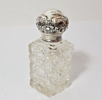 ANTIQUE CUT CRYSTAL & SILVER LID PERFUME COLOGNE BOTTLE Miller Bros 1908 a/f