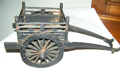 Antique Large Toy Cast Iron Ox Cart or Wagon Heavy
