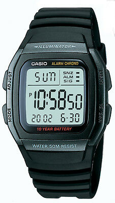 Casio Men's Quartz Illuminator Digital Alarm Black Resin 36mm Watch W96H-1BV