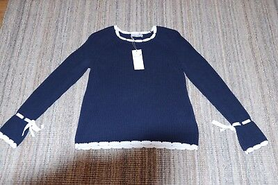 6a8f2bc8a8e MARKS AND SPANCER Per Una Navy pure cotton ladies jumper size 10 ...