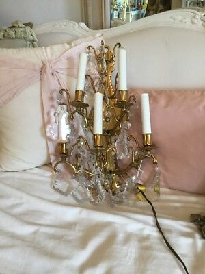 SHABBY Antique VTG BRASS METAL CRYSTAL PRISM FRENCH STYLE Sconce LAMP