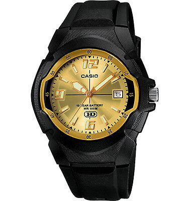 Casio Men's Quartz Gold-Tone Date Dial Black Resin 41.5mm Watch MW600F-9AV