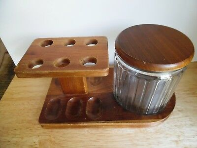 Vintage Estate Tobacco Smoking Pipe Holder w/Glass Humidor & Wood Lid 6 Slots VG