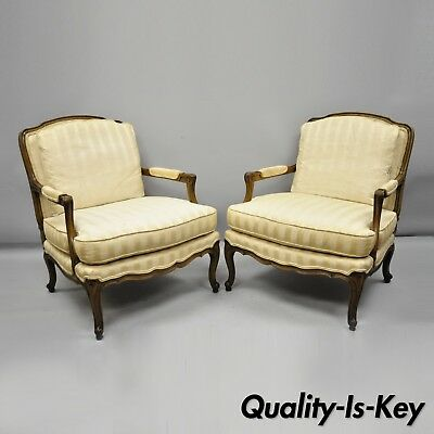 Baker French Country Provincial Louis XV Style Bergere Armchairs Pair