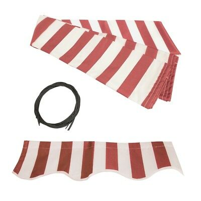 ALEKO Fabric Replacement For 20x10 Ft Retractable Awning Red and White Color