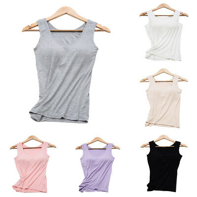 EG_ Women's Camisole with Built in Bra V-neck Padded Slim Tank Top Comfortable T