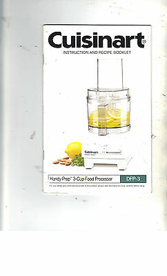 CUISINART DFP-3 Instruction and Recipe Booklet/Manual.Guide ONLY (2003)