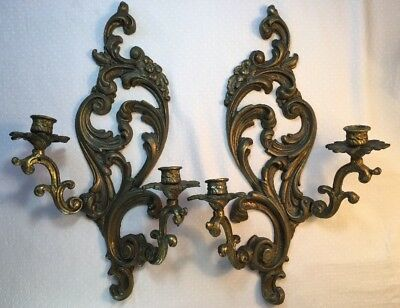 Vintage Pair Brass Two Arm Wall Sconces French Art Nouveau Style