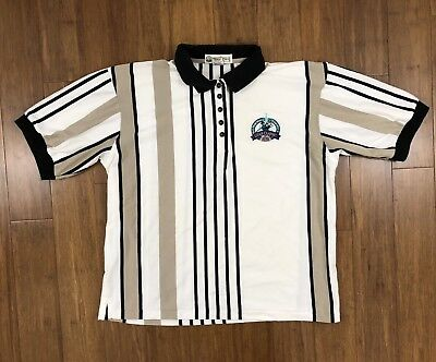 Walt Disney World VTG 90s Golf Classic 25 Years Striped Cotton Polo Shirt L