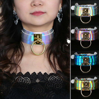 EG_ Gothic Punk Laser Leather Choker Holographic Collar Necklace Ring Buckle Uti
