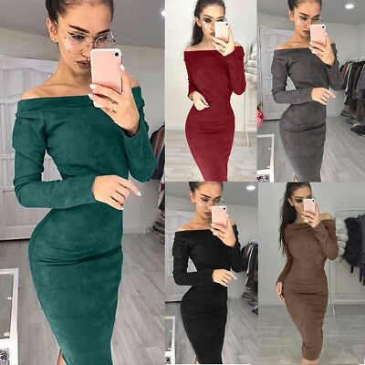 Fashion Women Slim Sexy Huge Suede Long Sleeve Off Shouder Bodycon Party Dress