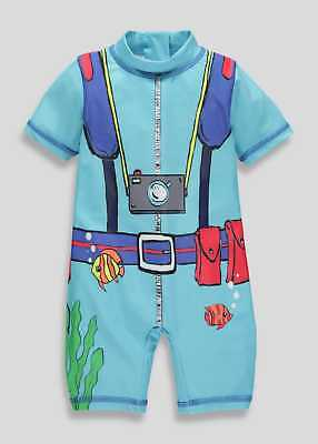 Boys Divers Uva Uvb Surf Sun Suit All In One Swimwear Sizes 3-6Mths To 4-5 Yrs