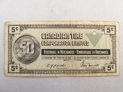 Vintage Canadian Tire 1922-1972 50 Years Money 5 Cents Note  # S0670092