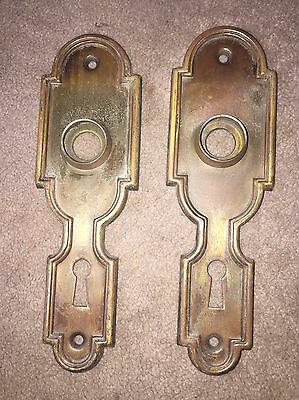 ANTIQUE Pair Of STAMPED Brass ART DECO/NOUVEAU PATTERN BACKPLATES
