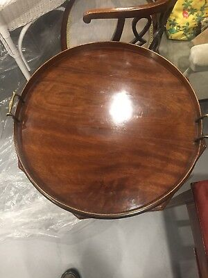 Round Mahogany Antique Tray