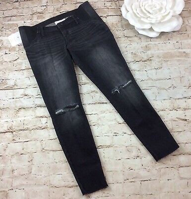 139bb675bf95a Isabel Maternity Jeans 10 Jeggings Black Cut Distressed Side Panel Frayed  Hem