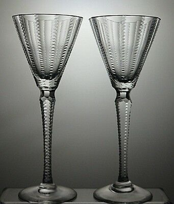 """Royal Brierley Crystal """"biarritz"""" Wine Glasses Set Of 2 With Cut Stem - Signed"""