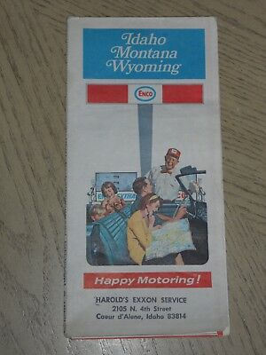 1972 Enco Humble Oil Idaho Montana Wyoming State Highway Road Map STAMP Coeur d'