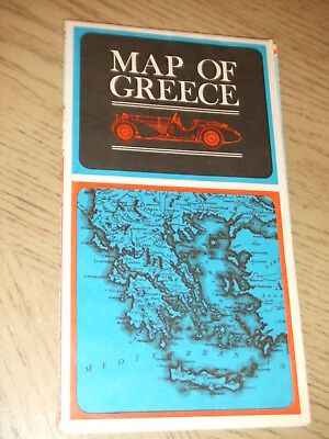 1972 OFFICIAL Greece Highway Tourist Road Map Transportation Mileage Chart GRC