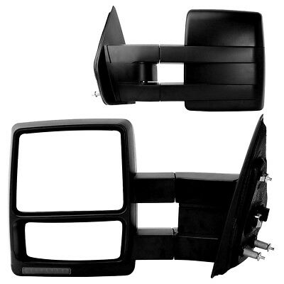For 07-14 Ford F150 Tow Power Heated LED Turn Signal Puddle Lights Side Mirrors