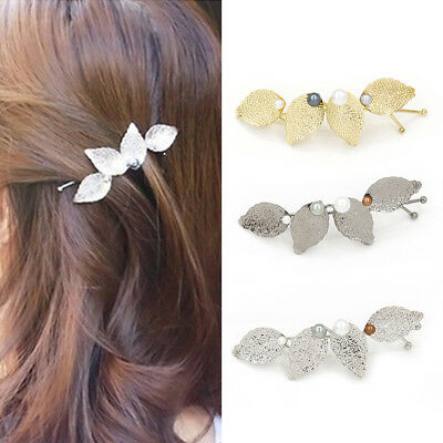 EG_ LC_ Women Fashion Leaves Faux Pearls Hair Pin Fringe Hair Clip Hair Accessor