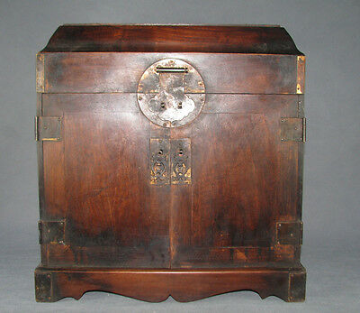 Chinese old Cao-huali hard wood carved 5-drawer 2-door chest w copper Hasp