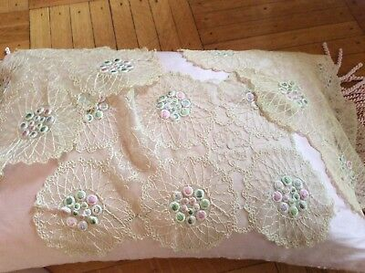 SHABBY Antique VTG Doilies Runners Set 3 Net Victorian Lace PINK