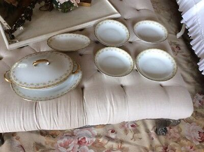 Bavaria Covered Dish  4 Bowl Set pink roses gold paint tric