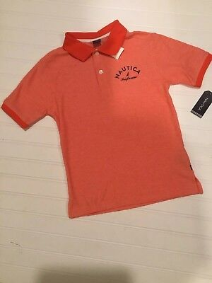 "Nautica Boys Polo Shirt ""Firework Orange"" Size 8 NWT"