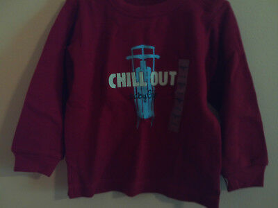 """NWT babyGap ls IB red thermal shirt with """"Chill Out"""" and blue sled size 3-6 m```"""