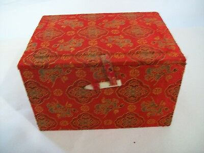 "Vintage Chinese Cloth Covered Box Ornate Red Design Satin Lined 7"" x 5"" x 4"""