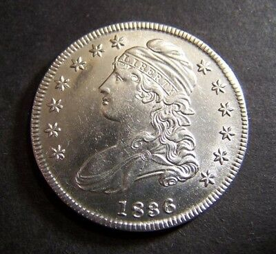 1836 Capped Bust Silver Half Dollar / 50 C. / Lettered Edge
