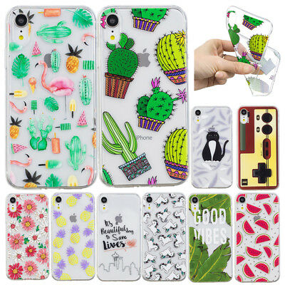 Clear Cute Pattern Soft Slim Shockproof Case For iPhone XS Max XR X 8 7 6s Plus