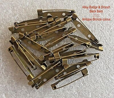 100 ⇥ 31mm BADGE or BROOCH BACK BAR CLASPS ~ ANTIQUE BRONZE COLOUR