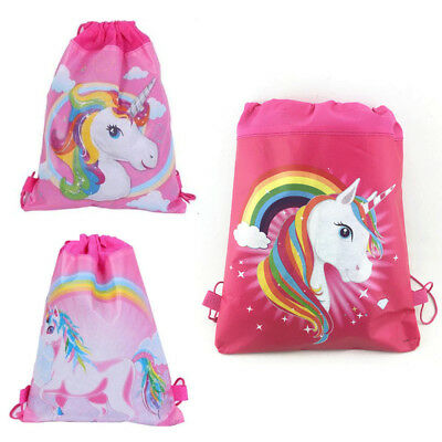 Unicorn Drawstring Bag Backpack Girls Swim Kids Shoes Storage Xmas Party Decor