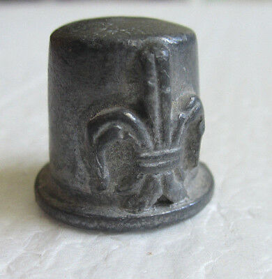 Vintage Fleur-de-lis Pewter Handmade Thimble Collectible Sewing Accessories