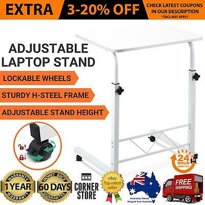 Adjustable Wooden Laptop Study Desk Sofa Bed Side Portable Mac Table Stand White