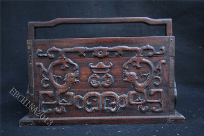"""13"""" Old Chinese Huanghuali Wood Carved Dynasty Drawer Jewelry Box Jewel Case"""