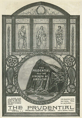 Prudential Insurance Gibraltar Stained Glass Window 1899 Vintage Magazine Ad