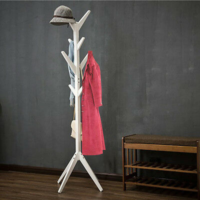 8 Hooks Standing Wood Coat Rack Tree Clothes Hat Hanger Heavy Duty Office Home