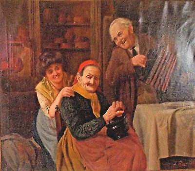 "Jules Zermati Italian "" Fiddler"" Antique Large Signed Oil On Canvas Painting."