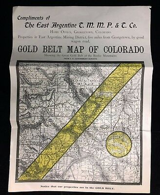 The East Argentine T.M.M.P.&T. Company Colorado Gold Belt Mining Map Circa 1905